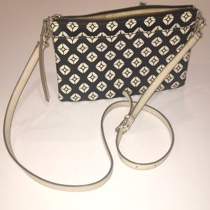 FOSSIL black/cream geometric textured leather bag